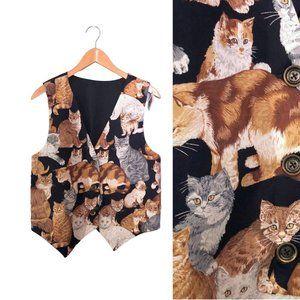 1990's Handmade Cat Vest Button Front Kitten Vest